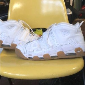 Nike UpTempo White with gum sole.
